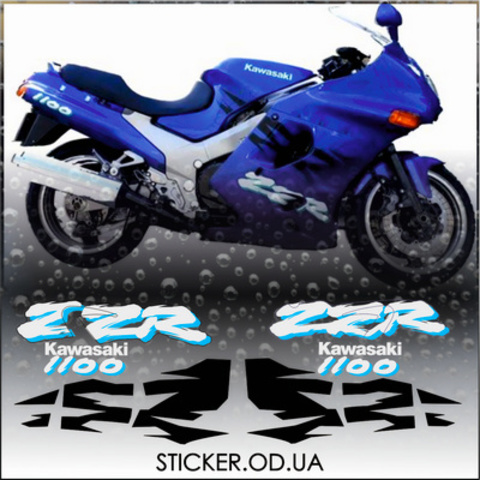 Набор виниловых наклеек на мотоцикл KAWASAKI ZZR 1100 1995