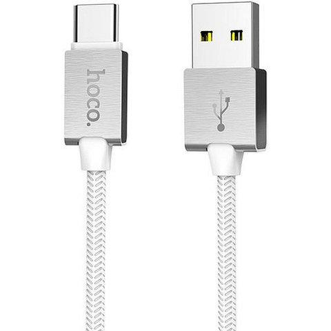 Кабель USB - Type-C Hoco U49 (оплетка ткань) Белый