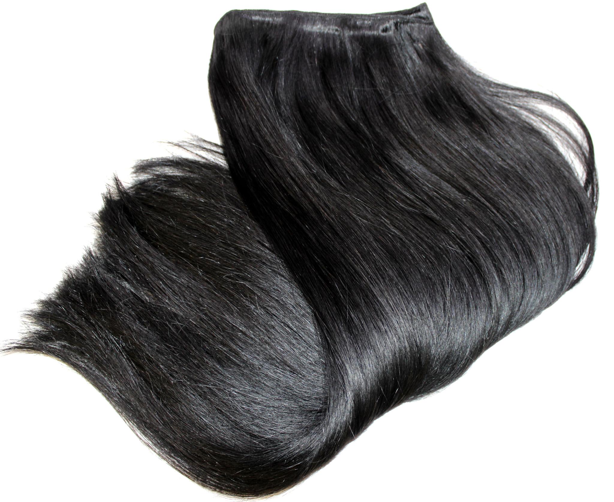 Тресс из натуральных волос длина 52 см,цвет #1 цвет натуральных черный