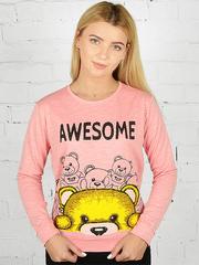 K031-27 футболка женская дл. рукав, розовая