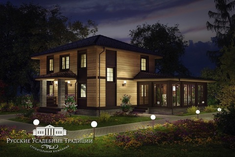"""Проект двухэтажного дома """"Марсель"""" 154 кв.м. с зимним садом"""