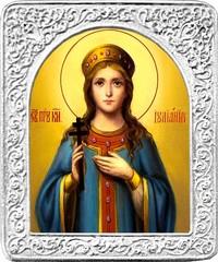 Святая Иулиания. Маленькая икона в серебряной раме.