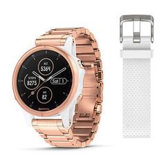 Женские мультиспортивные часы Garmin Fenix 5S Plus Sapphire - розовое золото с золотистым металлическим ремешком 010-01987-11
