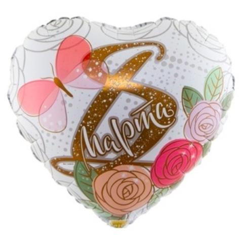 Сердце на 8 Марта с рисунком Розы, 46 см