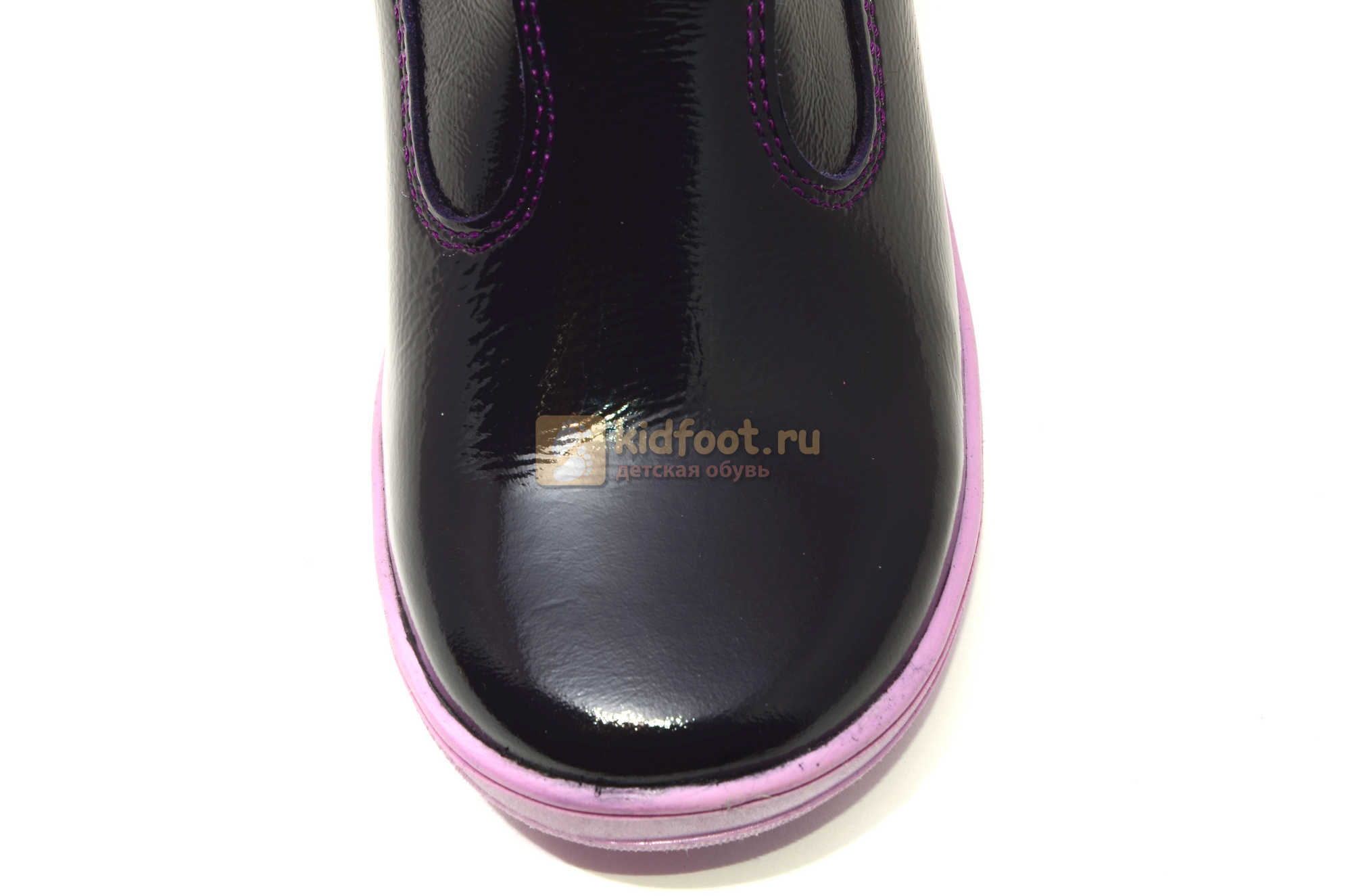 Сапожки для девочек из натуральной лакированной кожи на байке Лель (LEL), цвет черника