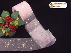 Лента-фатин с золотыми звездами розовая 6 см