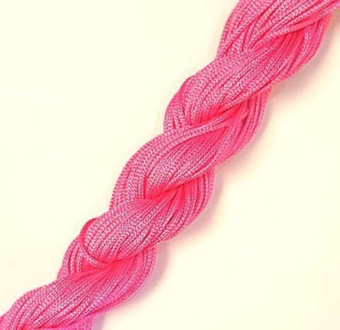 Шнур для  браслетов Шамбала (нейлон) 1.0 мм. ярко-розовый