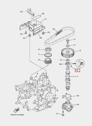 Шпонка шестерни распредвала для лодочного мотора F20 Sea-PRO (8-9)