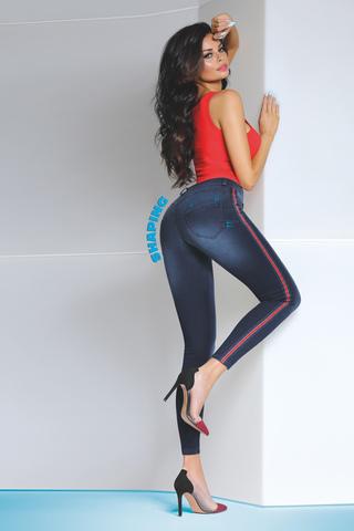 Леггинсы женские джинсовые с лампасами