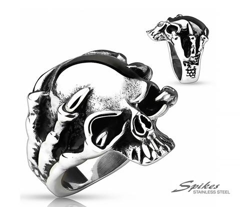 Крупное мужское кольцо череп с когтями из стали, «Spikes»