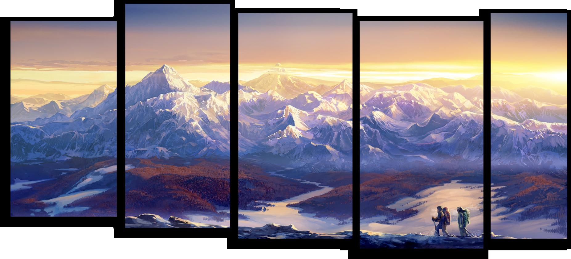 """Природа Модульная картина """"Поход в горы"""" М468.png"""