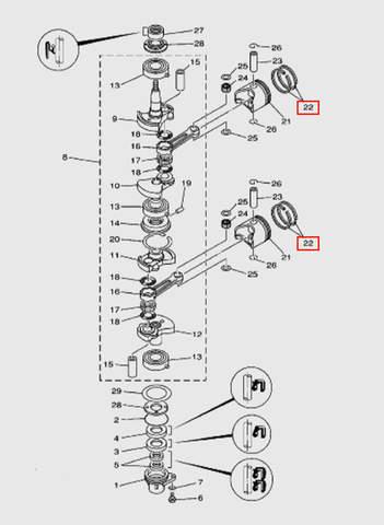 Кольца поршневые (к-кт 2 кольца)  для лодочного мотора T15, OTH 9,9 SEA-PRO (3-22)