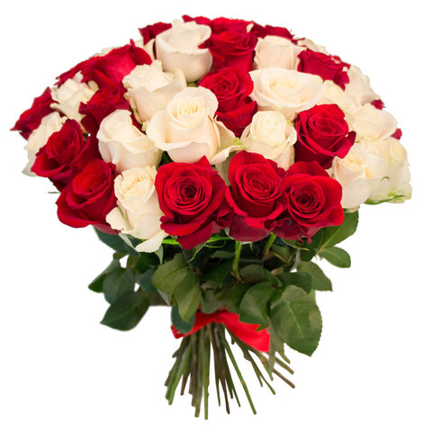 Букет из 51 красной и белой розы (80 см)