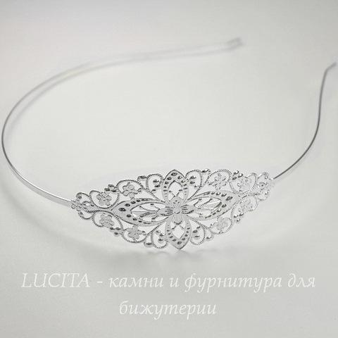 Ободок для волос с филигранью 77х35 мм (цвет - серебро), 3 мм