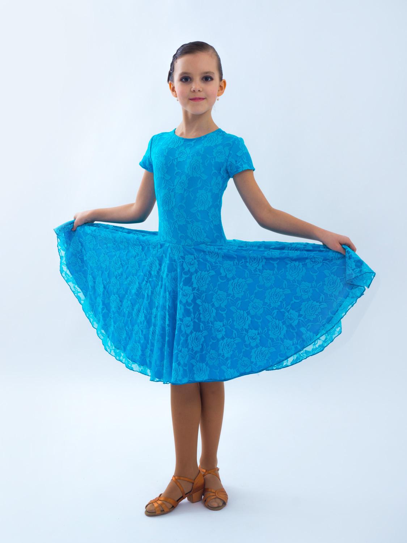 7ce831e8f35d450 Рейтинговое платье Re6 - бифлекс с гипюром - купить в Top Dance.
