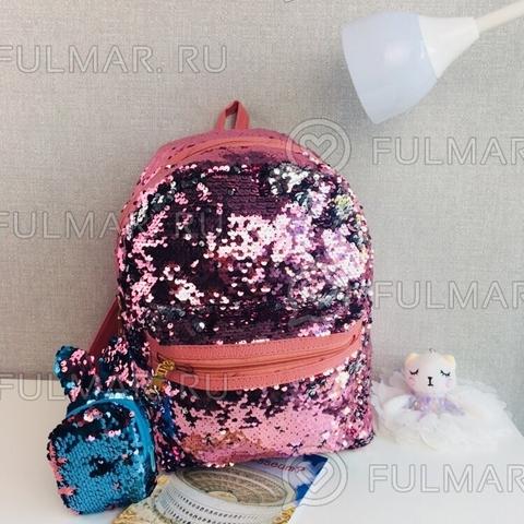 Рюкзак городской женский с пайетками меняющий цвет Розовый-серебристый  и Брелок-ключница заяц