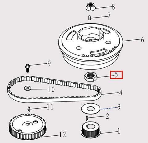 Гайка M24X1 для лодочного мотора F9.8 Sea-PRO (5-5)
