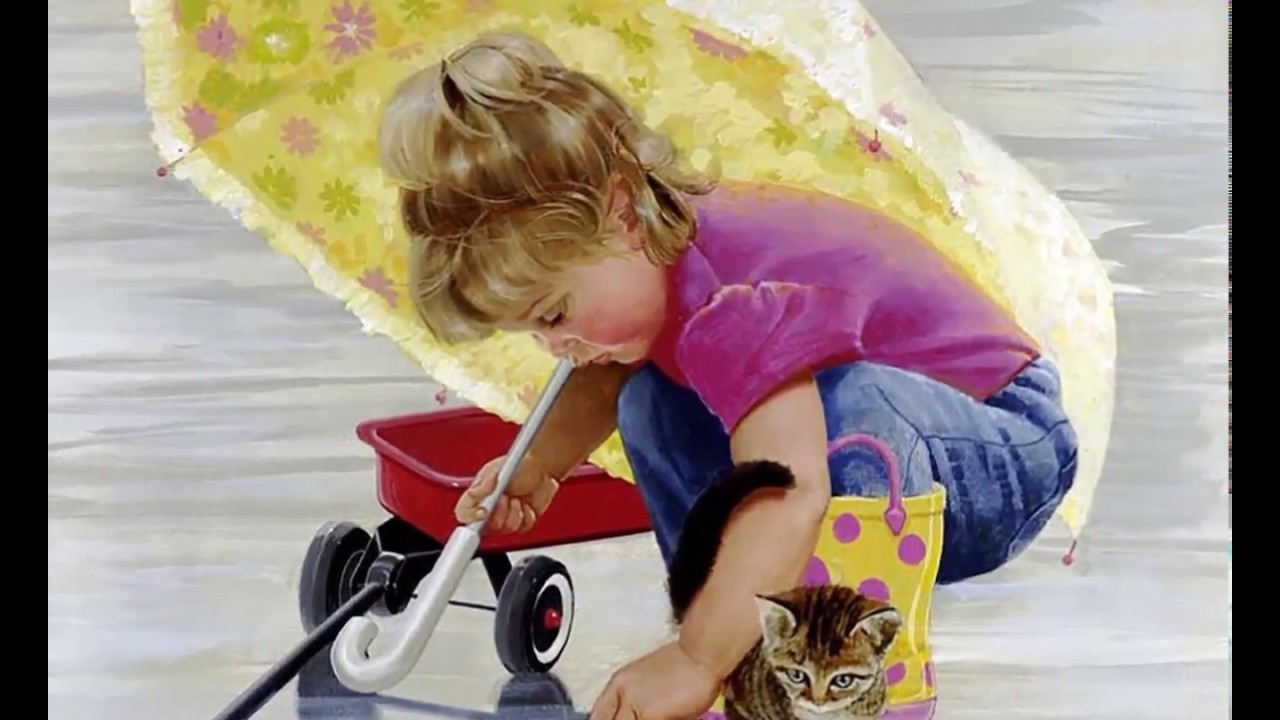 Картина раскраска по номерам 50x65 Девочка с котенком ...