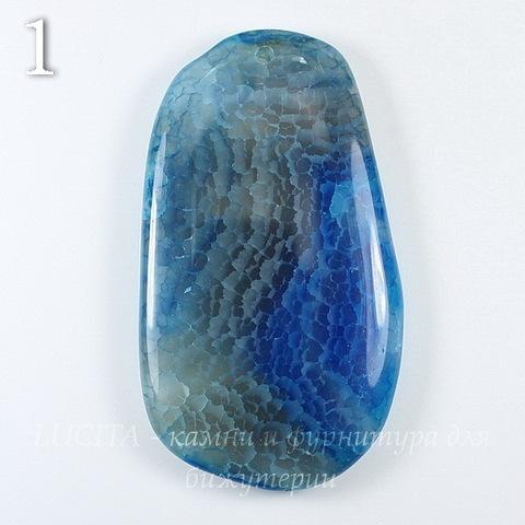Подвеска Агат Крэкл (тониров), цвет - синий, 54-70 мм (№1 (70х40 мм))
