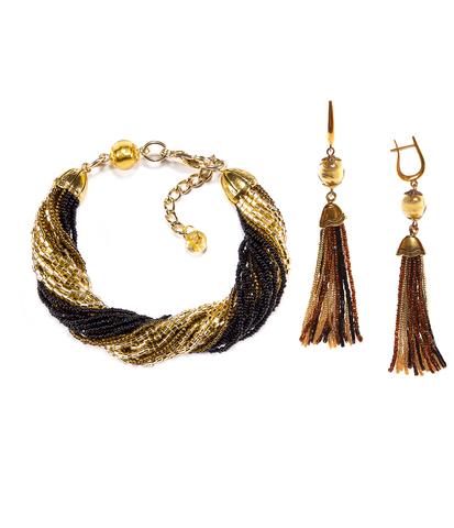 Комплект украшений из бисера золотисто-черный (серьги из бисера, бисерный браслет)