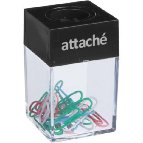 Скрепочница Attache магнитная с  цвет. скрепками 28 мм (20 шт.), цв.черный