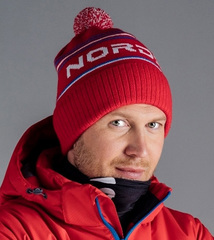 Шапка теплая Nordski Stripe Red RUS