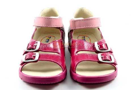 Босоножки Тотто из натуральной кожи с открытым носом для девочек, цвет малиновый розовый. Изображение 5 из 12.