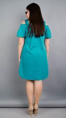 Клариса. Яркое платье рубашка больших размеров. Бирюза.