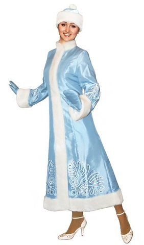 Костюм Снегурочки Морозный рисунок голубой
