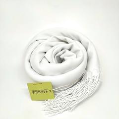 Кашемировый белый палантин (25-1)