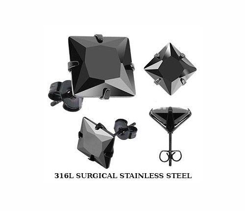 SESQK-3K Мужские лаконичные серьги «Spikes» из стали с черным камнем (3 мм)