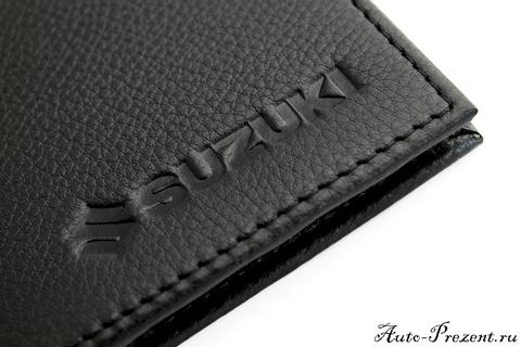 Портмоне для автодокументов из натуральной кожи с логотипом SUZUKI