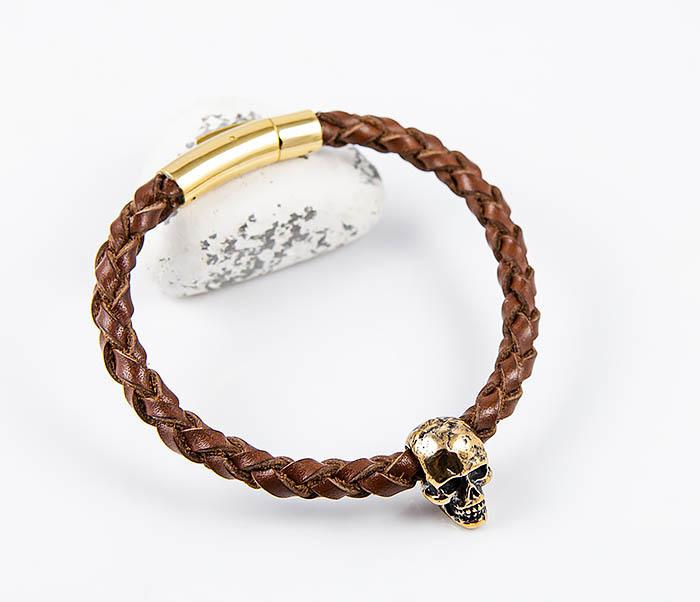BL785-2 Браслет из шнура ручного плетения с бронзовым черепом