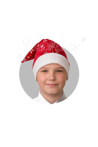 Колпак Деда Мороза (красный плюш со снежинками)