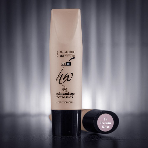 Крем тональный №12 для сухой кожи Premium Homework Silk Perfection Cream Rose 30мл