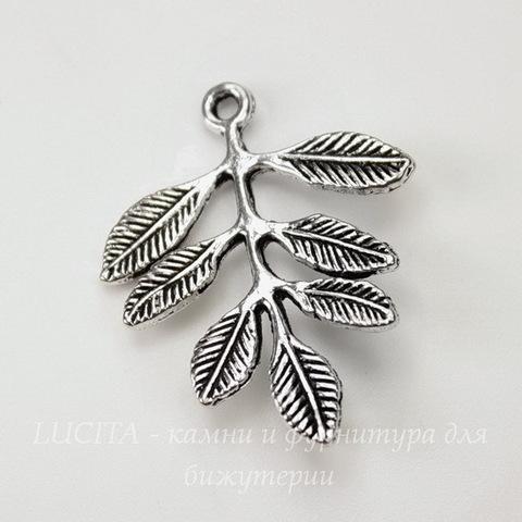 "Коннектор ""Листик"" (1-1) 31х27 мм (цвет - античное серебро)"