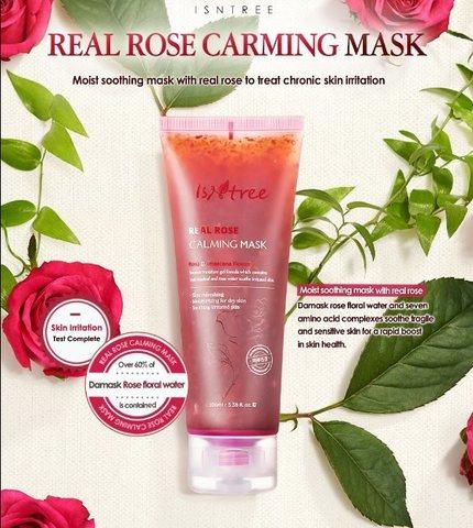 Успокаивающая маска с цветочной водой дамасской розы, 100 мл / Isntree Real Rose Calming Mask
