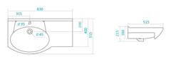 Раковина мебельная Santek Коралл 83, правый схема