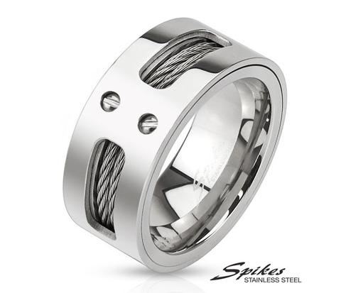 R-M3298 Широкое мужское кольцо &#34Spikes&#34 из ювелирной стали