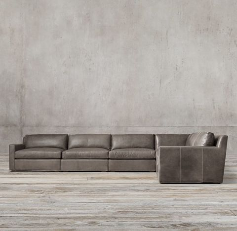 Belgian Track Arm Modular Leather L-Sectional