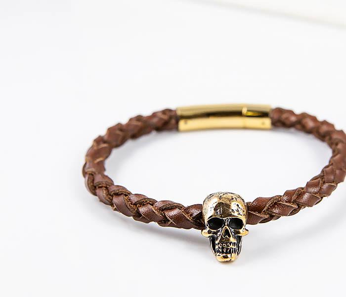 BL785-2 Браслет из шнура ручного плетения с бронзовым черепом фото 06