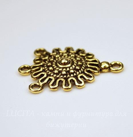 """Коннектор """"Вязаный"""" (1-3) 27х18 мм (цвет - античное золото)"""