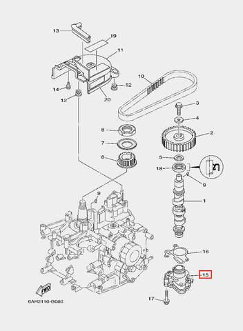 Помпа масляная в сборе для лодочного мотора F20 Sea-PRO (8-15)