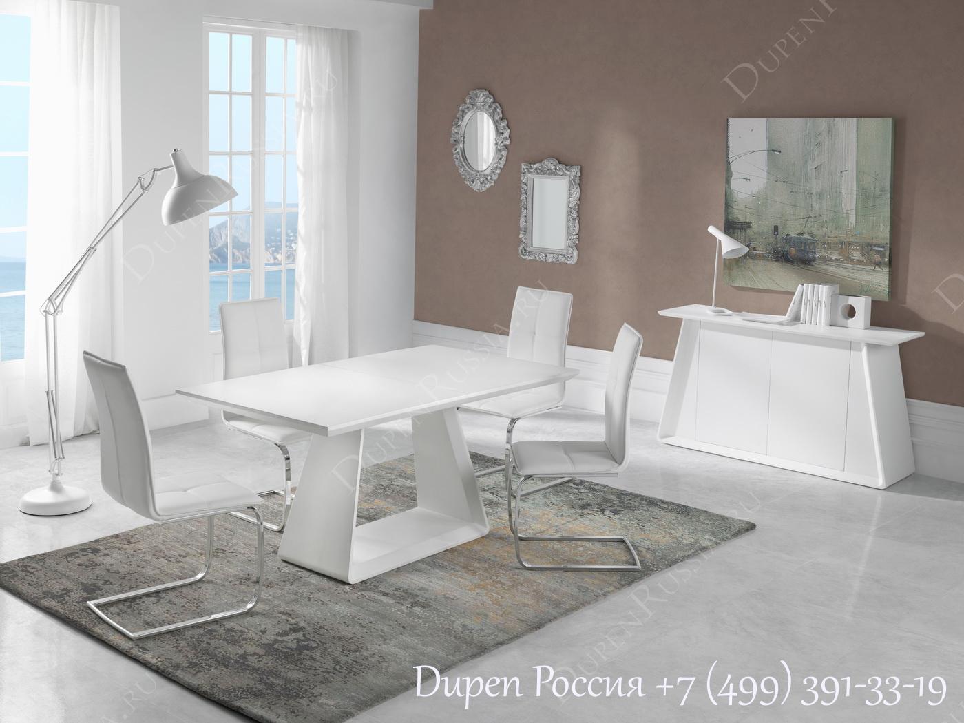Обеденный стол DUPEN DT-22 Раскладной Белый полуматовый, Стулья DUPEN DC - 105, Буфет DUPEN W-103