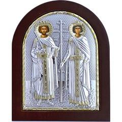 Икона Константин и Елена Святые равноапостольные. Серебряная икона.