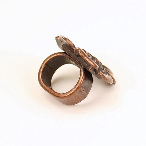 "Бусина металлическая (для шнура 10х7 мм) ""Цветок"" 18х17х13 мм (цвет - античная медь)"