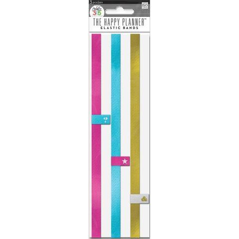 Держатель ручки на резинке для планера. Create 365 Happy Planner Elastic Bands - Pink, Gold, Blue -3шт