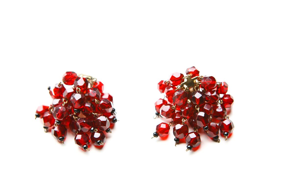 Ожерелье и клипсы из кристаллов под гранат Castlecliff