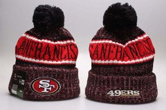 Шерстяная вязаная шапка футбольного клуба San Francisco (NFL) с помпоном