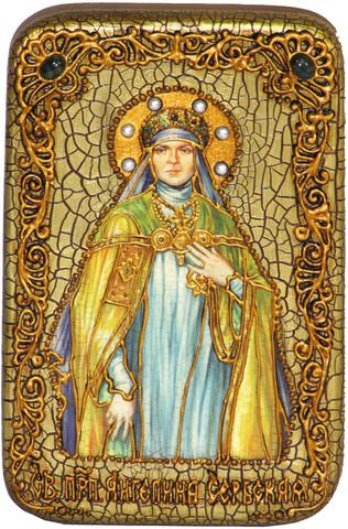 Инкрустированная икона Святая преподобная Ангелина Сербская 15х10см на натуральном дереве, в подарочной коробке